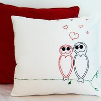 Owl Lover Heart Pillow Case by studio35 on Etsy