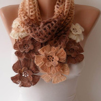 Brown Wool Crochet Scarf - Handknit - Winter Scarf