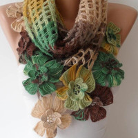 Multicolor Wool Crochet Scarf - Handknit - Winter Scarf