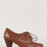 Dora-1 Perforated Lace Up Oxford Bootie