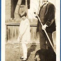 Raking with Grandpa, Vintage Photograph, Old Photo, Black and White Snapshot great for crafters