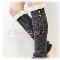 Leg warmers lace pointelle leg warmers women legwarmers knit leg warmers for all boots LUXURY LACE  Charcoal  Catherine Cole Studio LW29
