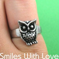 Owl Ring in Silver - Sizes 5 to 7 Available | smileswithlove - Jewelry on ArtFire