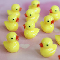 Yellow Rubber Duck Cabochon 4pcs Very Cute by qrhinestones on Etsy