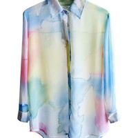 Dip Dye Chiffon Blouse with Long Sleeves