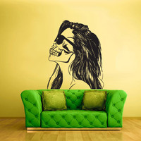 Wall Vinyl Sticker Decals Decor Art Bedroom Design Mural Zomby Skull Girl Horror halloween (z1939)