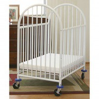 L.A. Baby Deluxe Compact Crib in White-3&quot; Mattress Included - 990 - Cribs - Nursery Furniture - Baby &amp; Kids&#x27; Furniture - Furniture