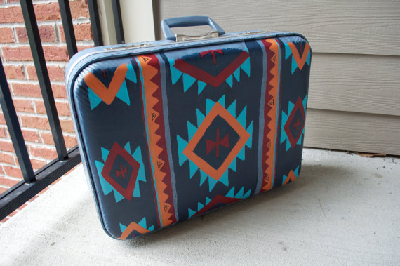 Painted Aztec Suitcase by CraftinQueen on Etsy