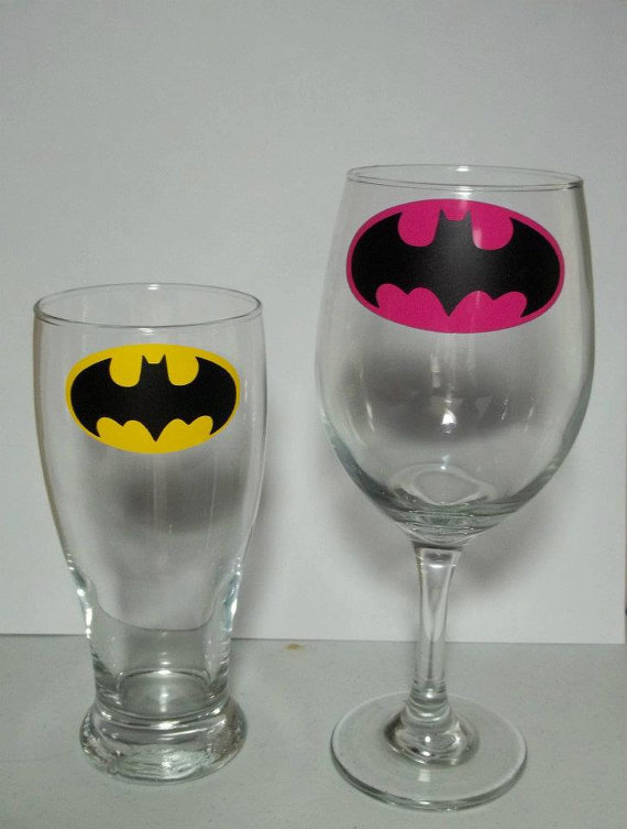 His and Hers Batman Beer Pilsner and Wine Glass by TheCraftyGeek86