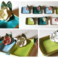 Vintage Colorful Floral Ashtrays