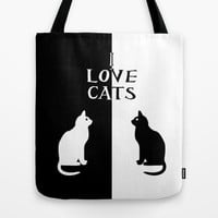OPPOSITES LOVE: CATS Tote Bag by Alice Gosling