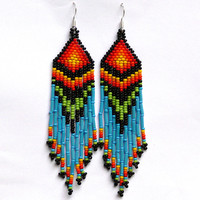 Native American Beaded Earrings inspired. Long Earrings. Fringe Earrings. Beadwork
