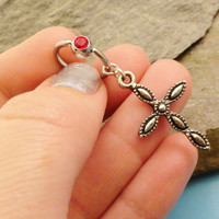 Cross Belly Button Ring Rosary Red Crystal by MidnightsMojo