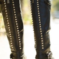 Starting Something Studded Back Knee High Riding Boots - Black from Breckelles at Lucky 21