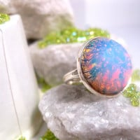 Rounded Blue Fire Opal Ring  Adjustable by FashionCrashJewelry