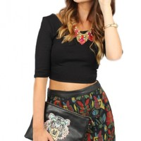 Retro Floral Stitched Skirt