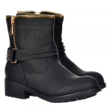 Onlineshoe Zip Feature Biker Ankle Boot - Gold Zip & Buckles  - Black - Onlineshoe from Onlineshoe UK