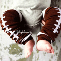 Brown FOOTBALL Leg Warmers. Baby Legwarmers.Boys or Girls Brown n White Cheerleader Unisex Legwarmers / Halloween Costume / Teen Arm Warmer