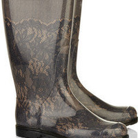 Valentino|Lace-effect Wellington boots|NET-A-PORTER.COM
