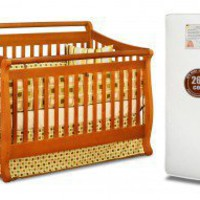 AFG International Furniture Amy 3-in-1 Crib w/ Toddler Guardrail and 260-coil Mattress in Pecan - 4589P - Cribs - Nursery Furniture - Baby &amp; Kids&#x27; Furniture - Furniture