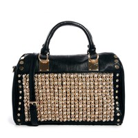 Black Wow Embellished Bowler Bag