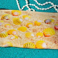 Sunrise Shell Screen Printed Clutch Make-Up Bag Wristlet
