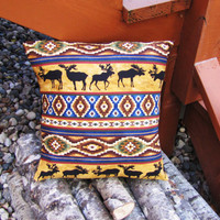 handmade southwestern moose pillow cover. deer stag decor. moose decor. aztec decor
