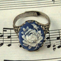 Blue Rose Ring by ragtrader on Etsy