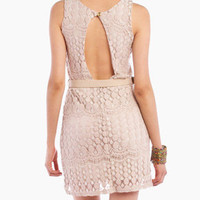 Maddie Open Back Dress in Beige