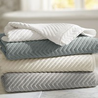 Chevron Sculpted 650-gram Weight Bath Towels | Pottery Barn