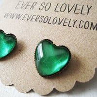 sparkly leprechaun green heart earrings by EverSoLovely