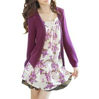 Allegra K Lady Flower Print Front Long Sleeve Fake Two Piece Shirt Purple XS