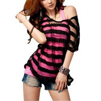 Amazon.com: Allegra K Woman Batwing Sleeve Black Shirt + Fuchsia Cami Camisole: Clothing