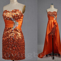 2014  Orange Shiny Rhinestones Sheath/Column Sweetheart Neckline Sweep Train Homecoming Dress with Detachable Train