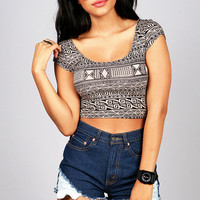 Maze Motif Crop Top | Trendy Tops at Pink Ice