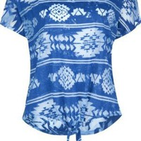 Amazon.com: FULL TILT Ethnic Tie Front Womens Top: Clothing