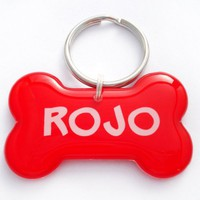 Bright Red Dog Bone Shape Pet Tag | metamorphdesigns - Pets on ArtFire