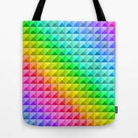 Rainbow tiles Tote Bag by Silvianna