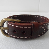 Adjustable brown Leather and Alloy Buckle Bracelets by sevenvsxiao