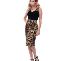 Brown Sarina Leopard Pencil Skirt - Unique Vintage - Prom dresses, retro dresses, retro swimsuits.