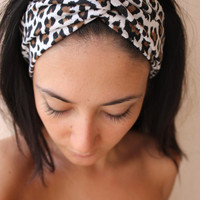 Cheetah print turban twist headband by ThreeHeartZ on Etsy