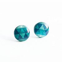 Emerald earrings studs, geometric jewelry, triangle pattern, small stud earrings