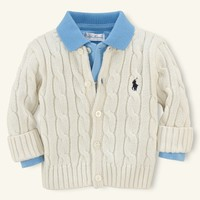 Classic Cabled Cardigan - Tops & Bottoms   Layette Boy (Newborn–9M) - RalphLauren.com