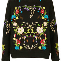 Floral Embroidered Sweatshirt - Hoodies & Sweatshirts - Tops  - Clothing