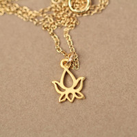 Lotus necklace - gold lotus flower necklace - yoga necklace - bloom - a tiny 22k gold overlay lotus outline on a 14k gold filled chain