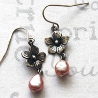 Pink Pearl and Sterling Flower Earrings
