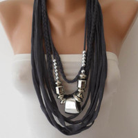 Scarf Necklace - Dark Gray with Silver Beads - Cotton Fabric Jewelry Necklace