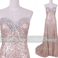 Strapless Sweetheart with Crystal Sequined by MissDressesy on Etsy