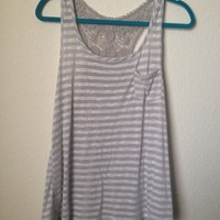 Forever 21 White And Grey Gray Striped Racerback Tank Top With Lace  Size M