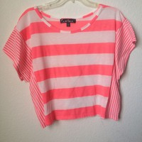 Almost Famous Neon Pink Striped Shirt Size XL